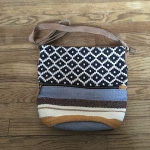 Fatface Multicolored Woven Canvas Crossbody Bag